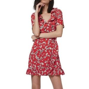Topshop Red Floral Wrap Dress - G